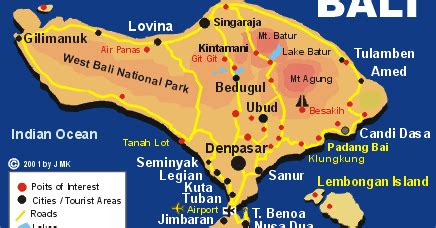 bali map boss bali holiday  popular destinations