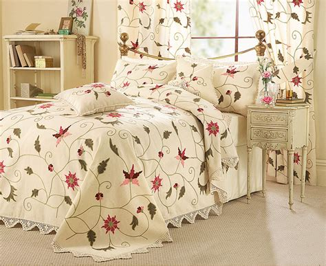 Crewel Work Bedding Set, Curtain Set And Cushion Covers