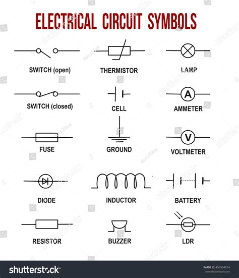Electrical Circuit Symbols White Background Stock