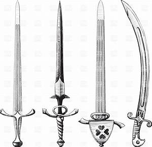 Ornate medieval swords and sabers in graphic arts style ...