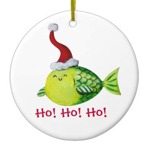 cute christmas fish christmas tree ornaments zazzle