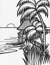 Sunset Palm Tree Drawing Coloring Pages Getdrawings sketch template