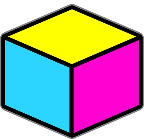 Cube Clipart Free Vector Graphic Cube Objects Boxes Yellow Pink