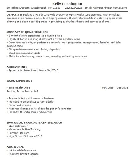 home health aide resume sle less experience home