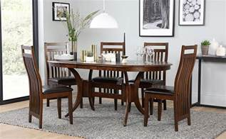 townhouse oval extending wood dining table and 6 java