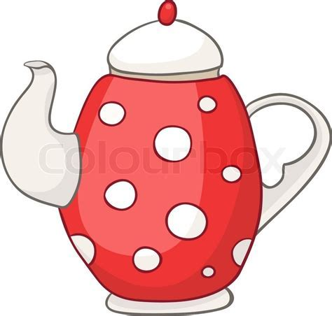 Cartoon Home Kitchen Kettle Isolated on White Background