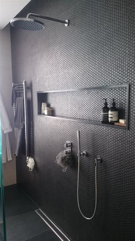 image result  subway tile gray grout  stone shampoo
