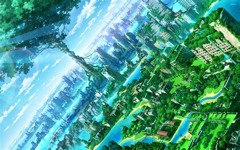 Green Anime Wallpaper - green city 2 wallpaper anime wallpapers 31389