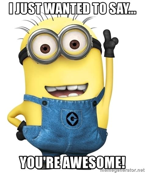 You Re Awesome Meme I Just Wanted To Say You Re Awesome Despicable Me