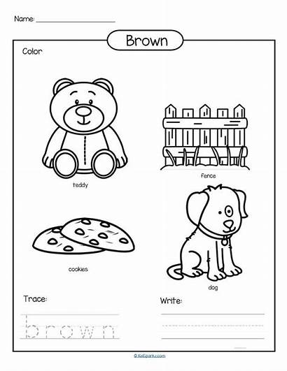 Brown Preschool Worksheet Trace Printable Colors Write