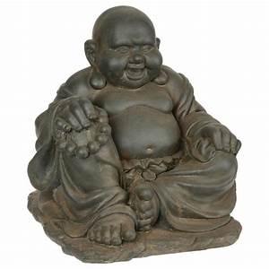 Statue Bouddha Interieur : statue bouddha gm en pierre 36cm gris ~ Teatrodelosmanantiales.com Idées de Décoration