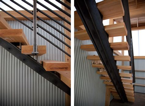 Metal Staircase   frame riveted to wooden stairs