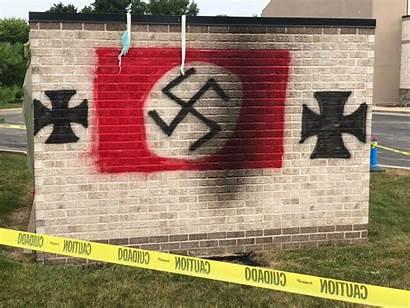 Nazi Synagogue Vandalism Indiana Hate Graffiti Anti