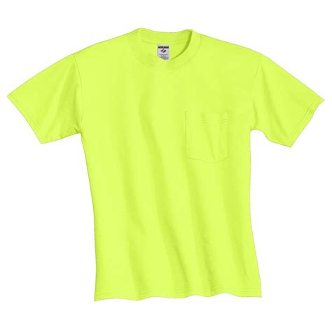 safety green color jerzees 29mp heavyweight blend t shirt with pocket
