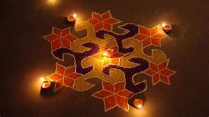 Beautiful Diwali Colorful Rangoli and Diya Decoration - HD ...