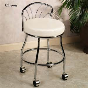 Vanity Chairs With Backs For Bathroom by Rolling Vanity Stool Homesfeed Vanity Chair For Bathroom