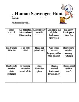 quot human scavenger hunt quot icebreaker activity by