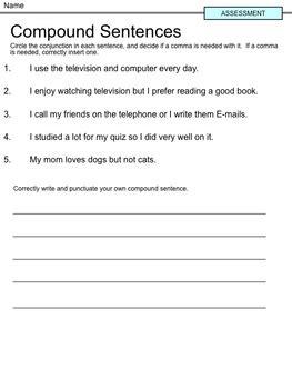 compound sentences quiz  coordinating conjunctions