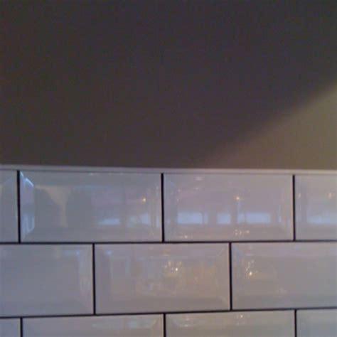 white tiles dark grout grey walls kitchen pinterest
