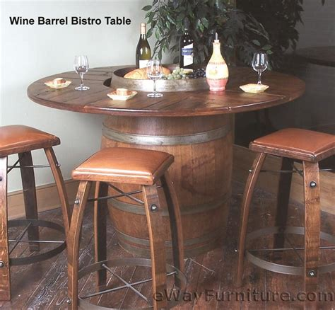 barrel table and chairs oak wine barrel bistro table set