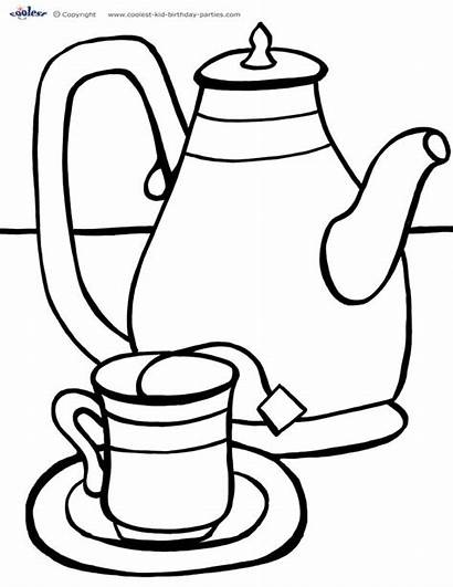 Tea Coloring Party Cup Pages Printable Colouring