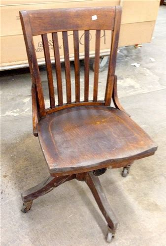 antique wooden swivel desk chair