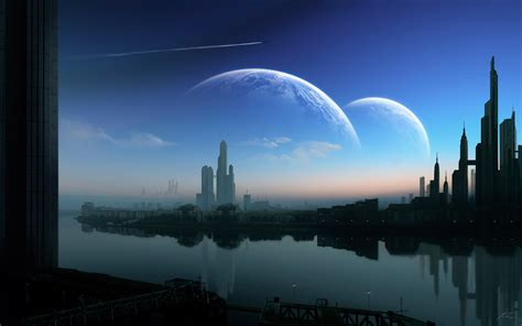 outer space, cityscapes, futuristic, planets, architecture ...