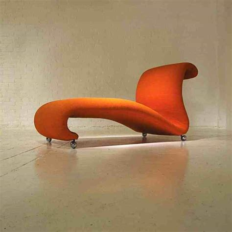 chaise verner panton mid century orange chaise longue by verner panton for