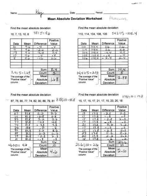 Mean Absolute Deviation Worksheet  Kidz Activities