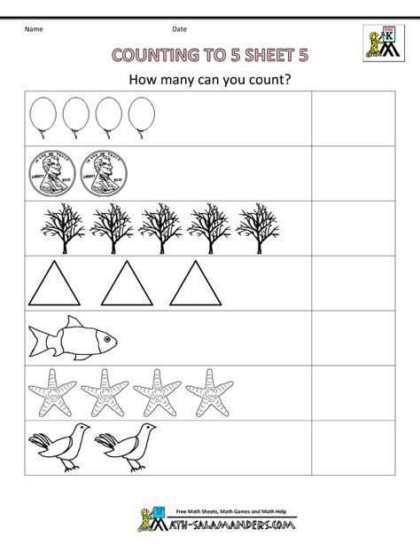 preschool counting worksheets counting to 5 210 | math worksheets preschool counting to 5 5bw