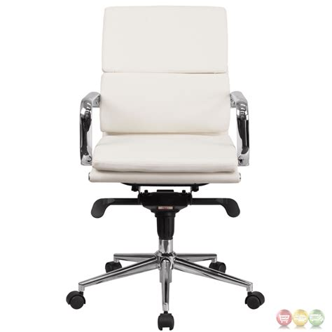 mid back white leather executive swivel office chair with