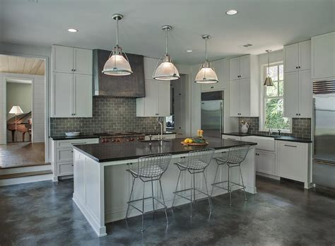 light gray kitchen cabinets with gray subway tile