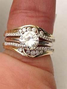 14k Yellow Gold Solitaire Enhancer Round Diamonds Ring
