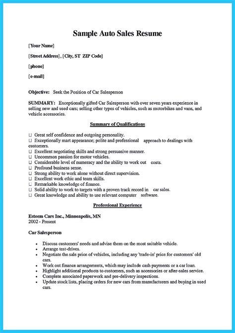 special car sales resume     special job