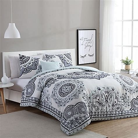 34647 mint and gray bedding vcny home kaya comforter set in mint grey bed bath beyond