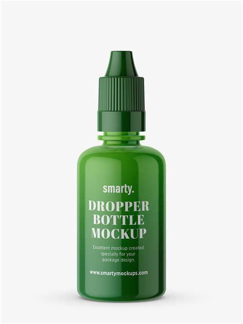Layered psd through smart object insertion license: Glossy dropper bottle mockup - Smarty Mockups