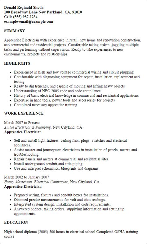 electrician resume sles sle resumes electrical