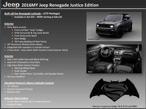 batman jeep jeep renegade 2016 batman vs superman special edition