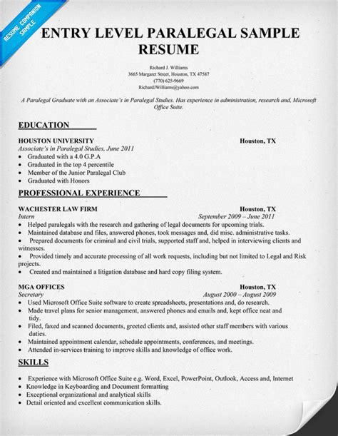 Exle Of Entry Level Paralegal Resume entry level hvac resume sle quotes