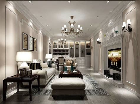 european style living room design  kitchen cgtrader