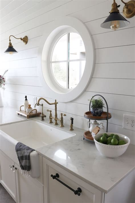 shiplap kitchen planked walls  sink stove giddy