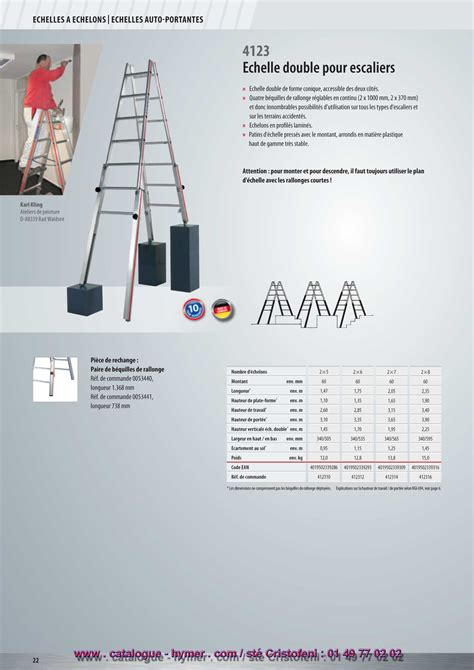 p22 echelle evasee pour escalier 4123 en sc40 catalogue hymer tableau prix pour tous