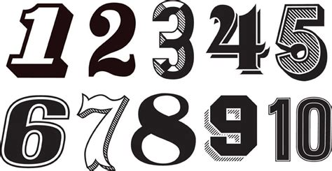 12 Vintage Number Fonts Images