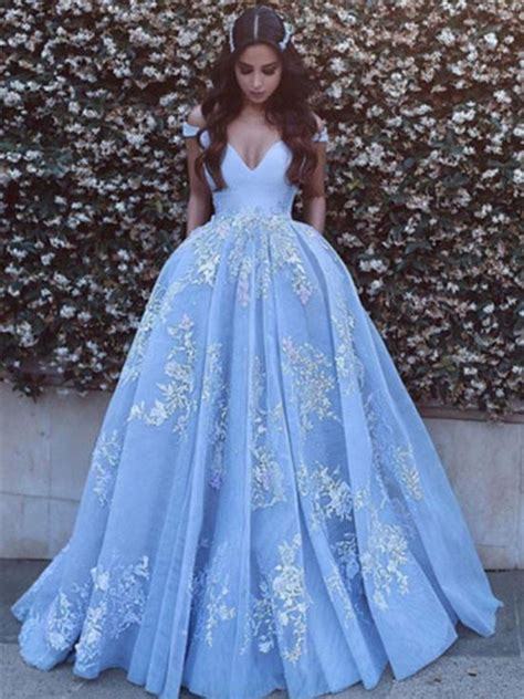 Prom Dresses Light Blue by Shoulder Light Blue Prom Dress With Lace Applique