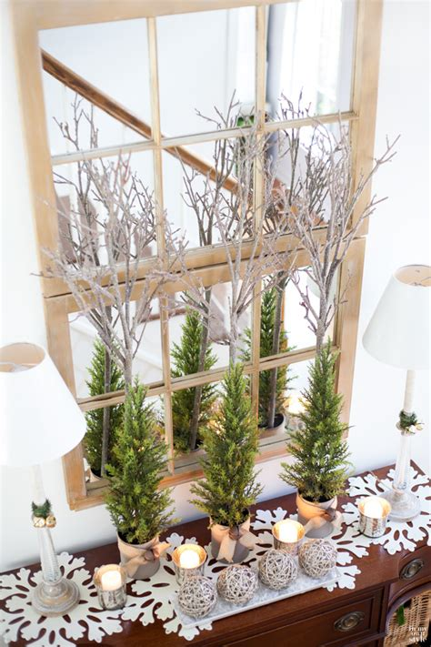christmas decorating with natural elements decorating in my foyer in my own style