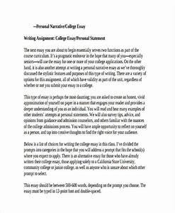 College Application Essay Sample College Application Narrative Essay