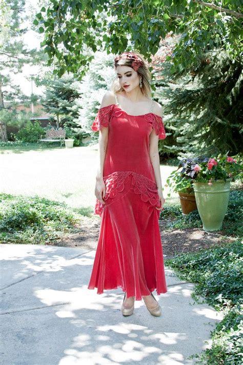 vintage  red silk velvet flapper dress art deco