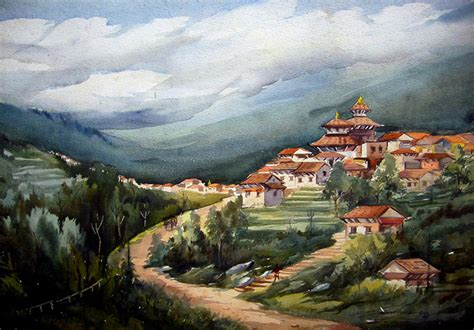 print himalayan mountain valley   samiranart