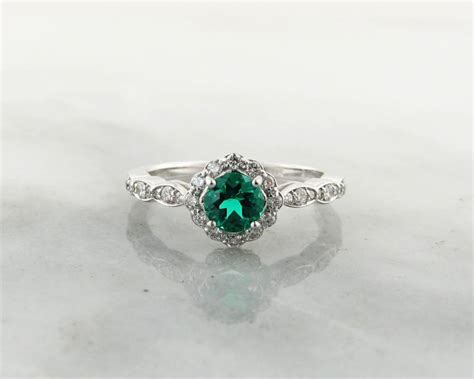 Emerald Diamond White Gold Halo Engagement Ring 98.00
