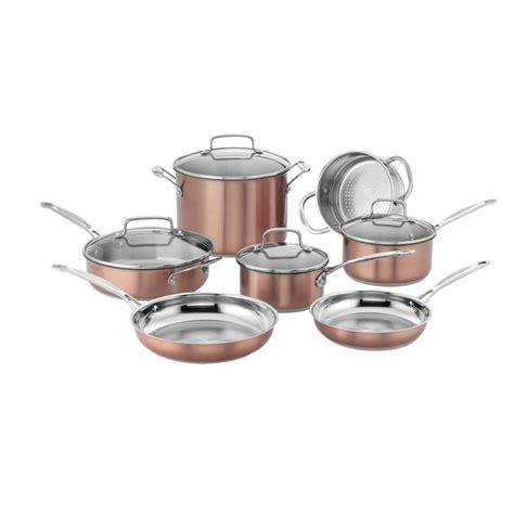cuisinart chefs classic stainless color series  piece cookware set copper walmartcom